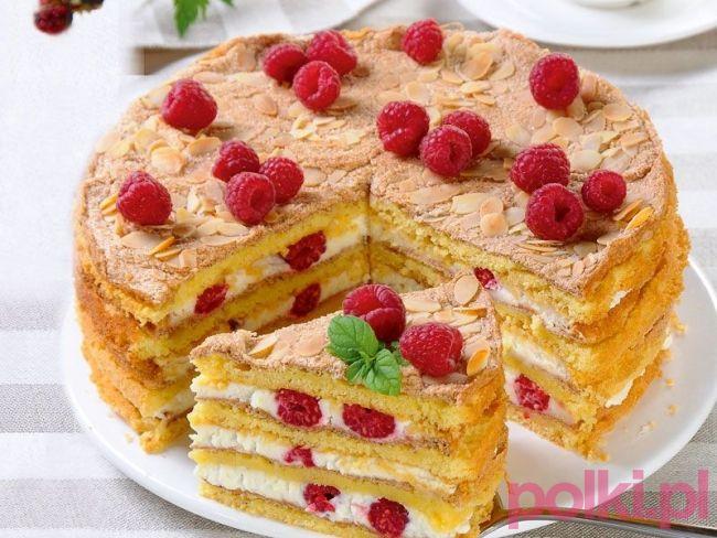 tort z malinami przepis, przepis na tort z malinami, jak zrobić tort z malinami…
