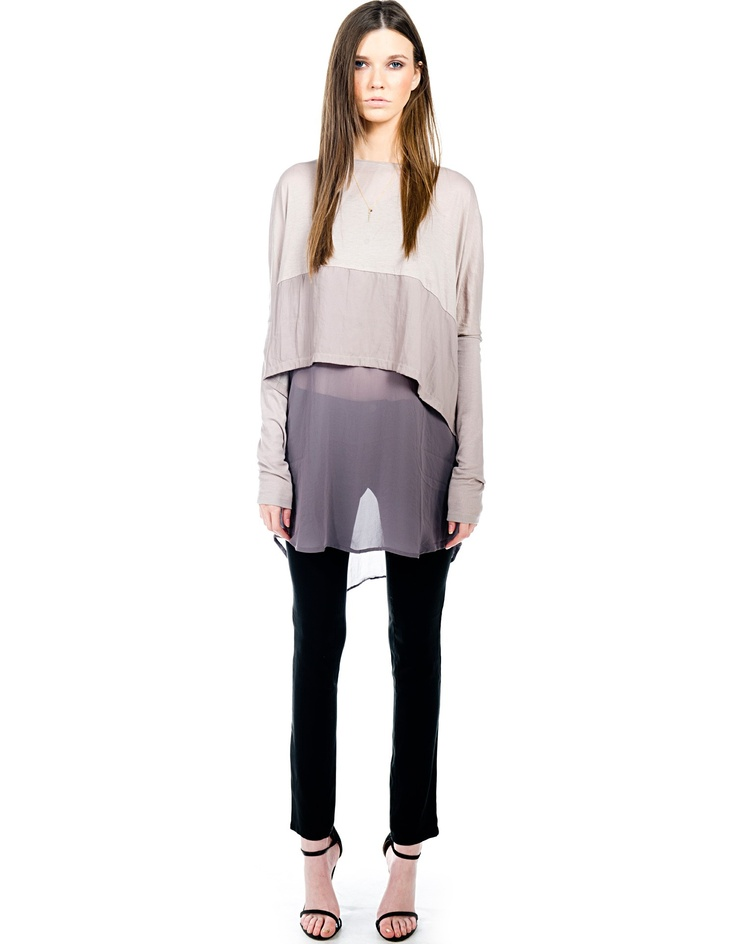 lifewithbird slide away top. where sheer contrasts imitates ombre.