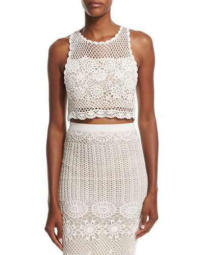 Sneakernews Sale Online Alice+olivia Woman Fringe-trimmed Crocheted Cotton Top Off-white Size 4 Alice & Olivia Factory Outlet Cheap Online Clearance Visit New PqiDSpkTL
