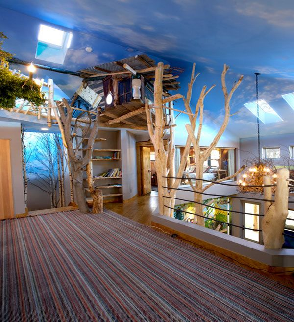 Hand Painted Ceiling Murals That Mimic The Clouds Paint Ceiling Ceiling And  Ceiling Murals. Tree House Interiors
