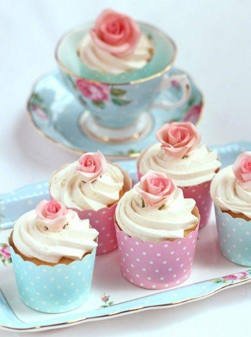 Cupcake served in a pretty tea cup.
