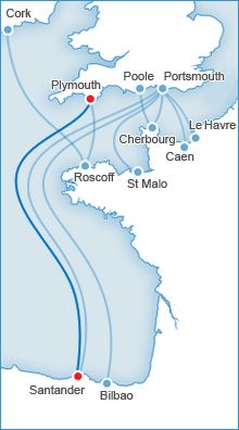 Brittany Ferries route network - Plymouth to Santander