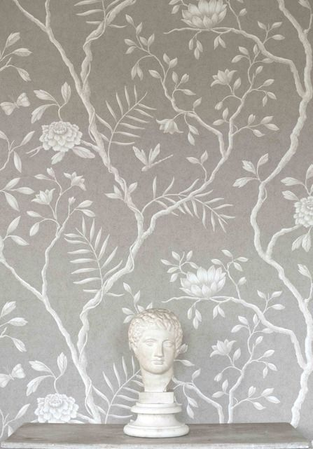 Jasper Peony Wallcovering A beautiful and tranquil climbing floral wide width wallpaper in white on a steely grey mottled background.