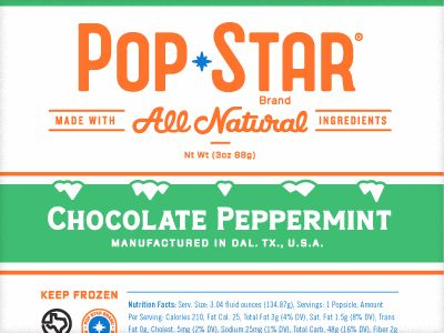 Label for a popsicle brand in Dallas by Richie Stewart