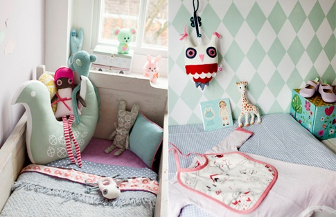 Ferm wallpaper and Birdie pillowHouse'S Kidsroom