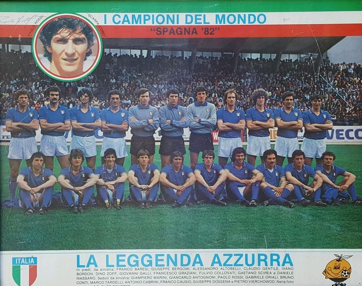 PAOLO ROSSI SIGNED ITALY Football Team Poster ~ WORLD CUP Champions Spain 1982 #Juventus #PaoloRossi #WorldCup #Italy
