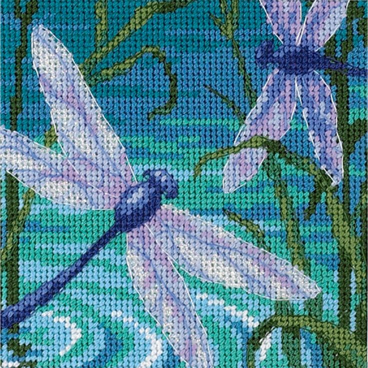 DIMENSIONS-Mini-Dragonfly Pair. Needlepoint. Kit contains: cotton thread opal ribbon full color print on 14 mesh canvas needle and easy instructions. Finished size: 5x5.