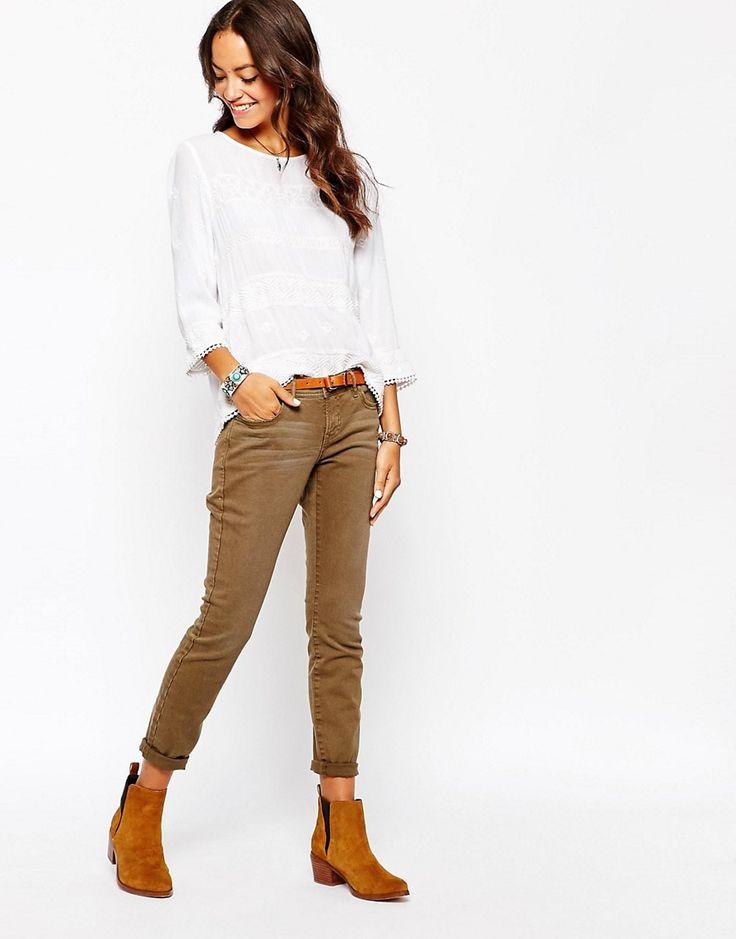 Укороченные стретчевые джинсы Esprit - 355 темный хаки