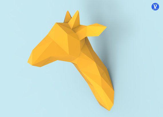 Tête de girafe Papercraft PDF Pack par Verticees sur Etsy