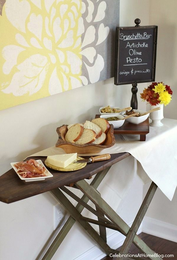 Bruschetta Bar....using old items such as an iron board makes an event fresh and can even be removed after the event.  Perfect for small spaces or for outside.