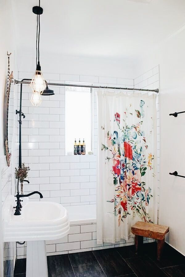 White Bathroom With Flower Shower Curtain Small Apartment