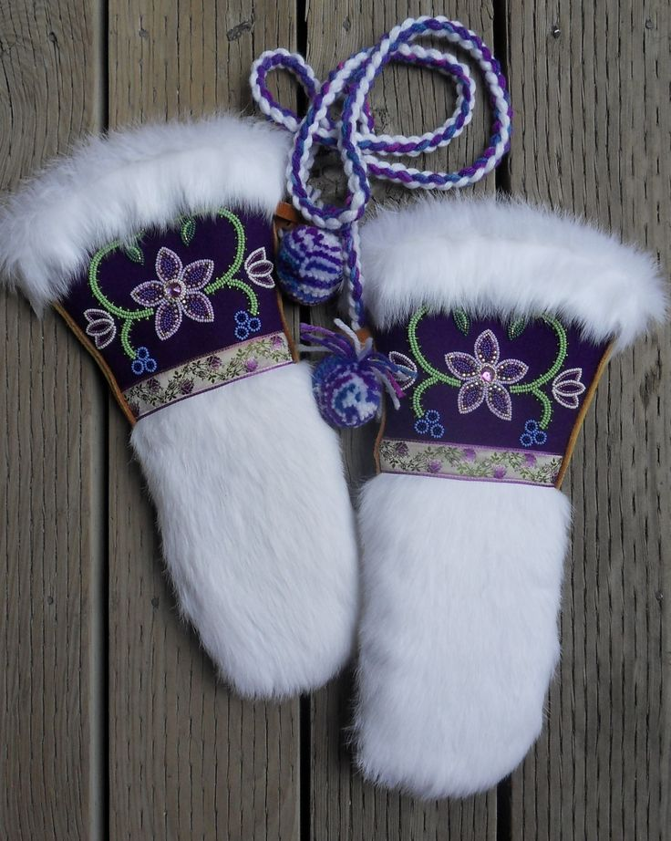 Ladies Mitts- Purple Melton, seed beads, banding, gems, 24k gold seed beads, rabbit fur, commercial tanned moose hide, and vintage ribbon trim... Definitely one of my favorites :) Made by Carmen Dennis (Tahltan)