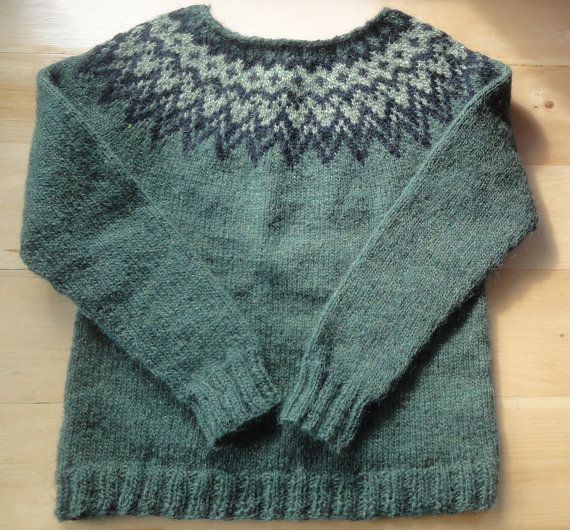 Icelandic Sweater / Lopapeysa Hand Knit in Pine by Waysofwoodfolk.