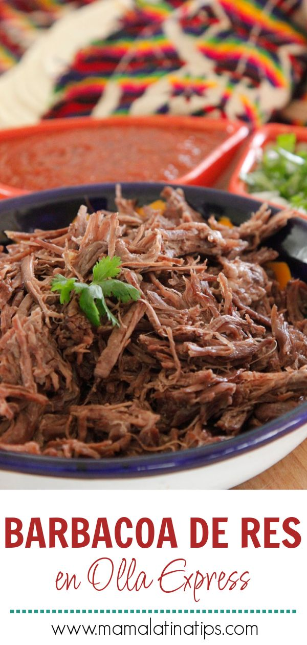 Beef Barbecue in Pressure Cooker- This delicious beef barbecue is made with only 8 ingredients. Cooking it in the express cooker or pressure cooker saves a lot of time. Meat Recipes, Mexican Food Recipes, Cooking Recipes, Beef Birria Recipe, Beef Barbecue, Food Porn, Spanish Dishes, Best Instant Pot Recipe, Gastronomia