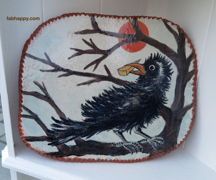 Ceramic Platter & Plate - Maitre Corbeau - inspired by French Poem - design by Gloria