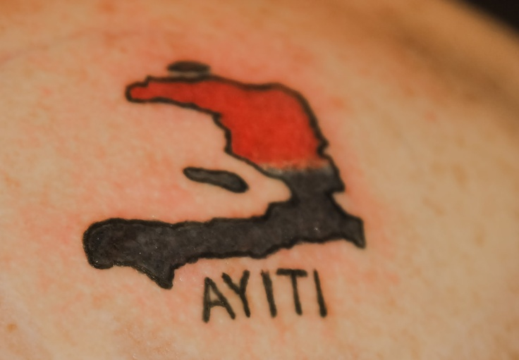 Ayiti No color filled in just the outline on my hip and Ayiti in a different font