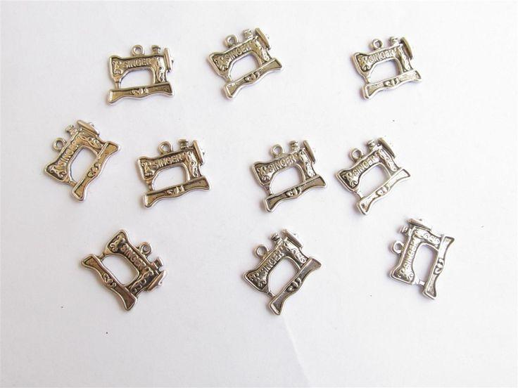 Silver tone metallic charms 27mm (10 pcs)