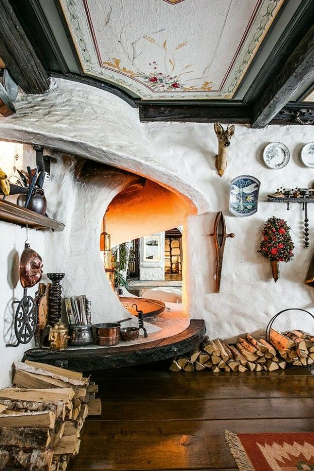 Rustic Scandinavian House With Character - What is this? A fireplace?? Can I have one??
