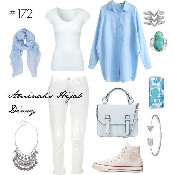Aminah´s Hijab Diary #hijab #muslimah #modest #fashion #style #look #outfit #ootd #boyish #converse #blouse #boyfriendjeans #white #blue #cool
