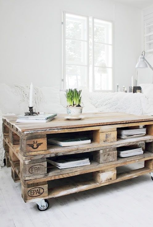 Pallet-tables for the work space.