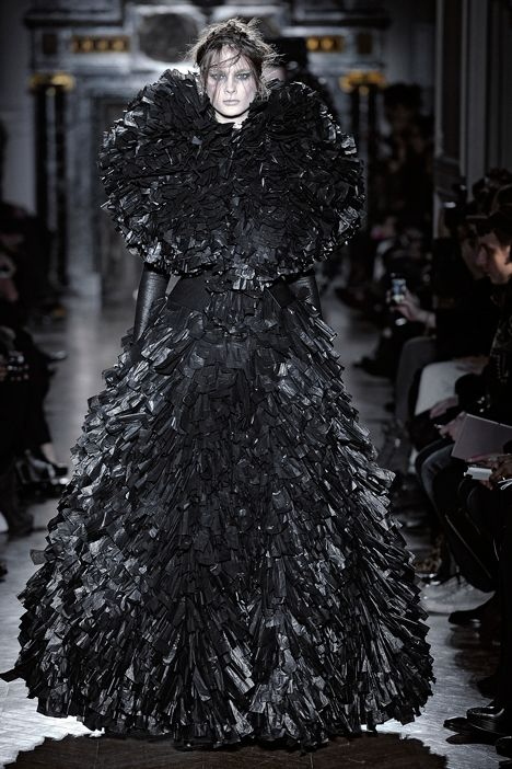 Bin Bag Couture... gothic gowns made from shredded black bin bags, layered to create volume - upcycled fashion; alternative materials // Gareth Pugh PD