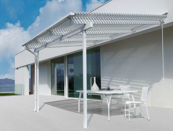 Wall-mounted pergola / aluminum / with mobile slats MERIDIENNE Unopiu