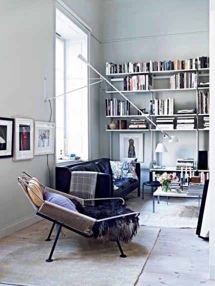 Børge Mogensen´s sofa model 2213 for Fredericia Furniture, Poul Kjaerholm sofa table PK 61, and Hans J. Wegner Flagline chair (model 225) by...