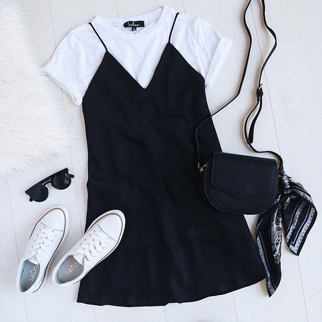 dress down your slip dress by layering up with a little white tee & sneakers ✨ | shop the look via the link in our bio #lovelulus