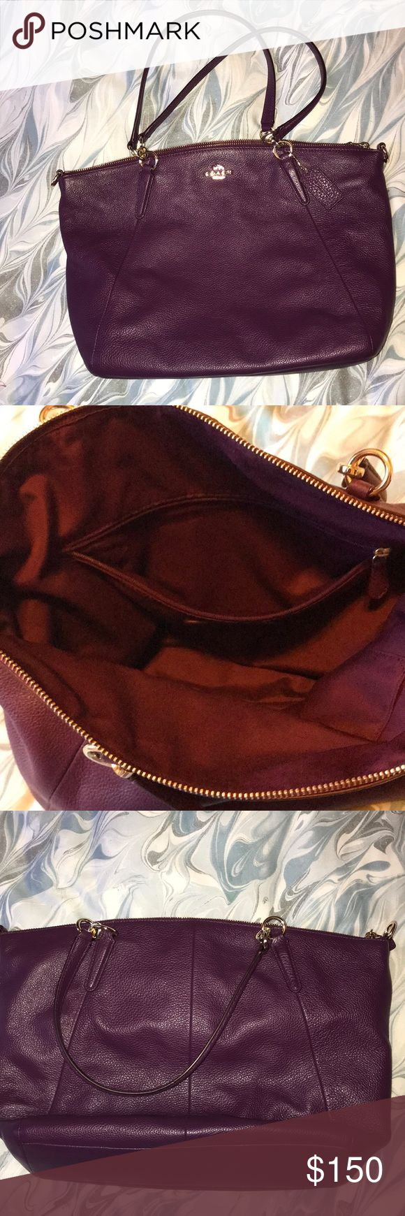 JUST ADDED-COACH KELSEY PEBBLED LEATHER SATCHEL Gorgeous Authentic Coach Kelsey Satchel in purple pebbled leather. Super soft. Clean inside and out from a smoke free closet. Comes with strap and can be used as a Crossbody. I purchased it from another posher. Coach Bags Satchels