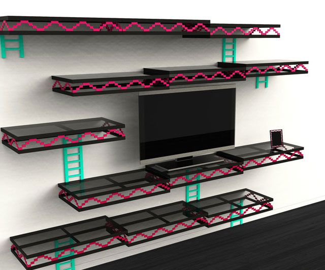 Donkey Kong Shelves Give your entertainment room a touch of nostalgia with the Donkey Kong shelves. Designed for the old school gamer, the shelves provide ample space for all your movies and games while making your wall look like a level from the classic Donkey Kong game.