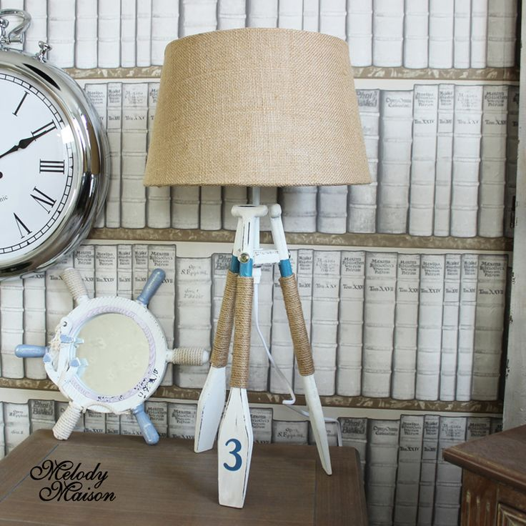 Nautical oar tripod table lamp a fun but stylish wooden tripod table lamp each leg is