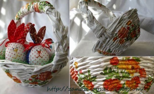 Easter basket DIY (Пасхальная корзинка из газетных трубочек. Мастер-класс)