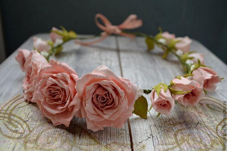 Купить Нежный веночек с розами.. - бледно-розовый, фотосессия, фоамиран иранский, венок из цветов