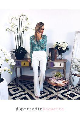 Fashion Blogger Ioana Chisiu spotted in Raquette #maisonraquette #white #pants #classic