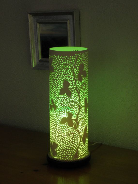 Handmade recycled PVC pipe table lamp. Ivy design
