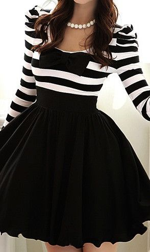 Black/white bow dress... love. Would like more though if it didnt have long sleeves. but still cute!