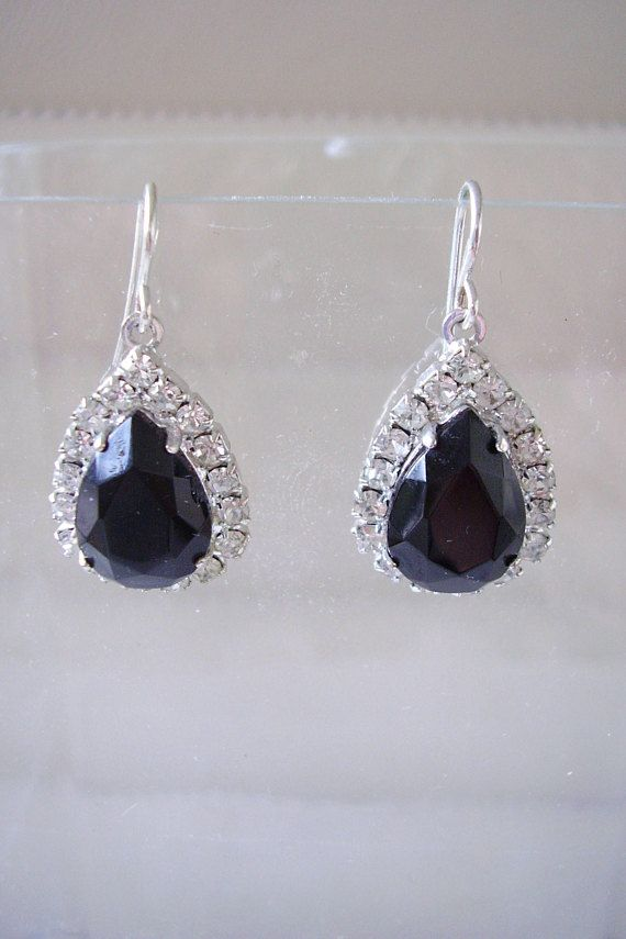 Earrings French Jet & White Crystal Peardrop Black Glass