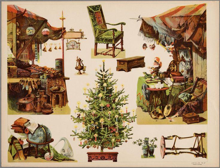 Papieren theater in kleur voorstellende 9 zetstukken waaronder een marktkraam met Kasperl, een kerstboom, eem stoel een een wereldbol