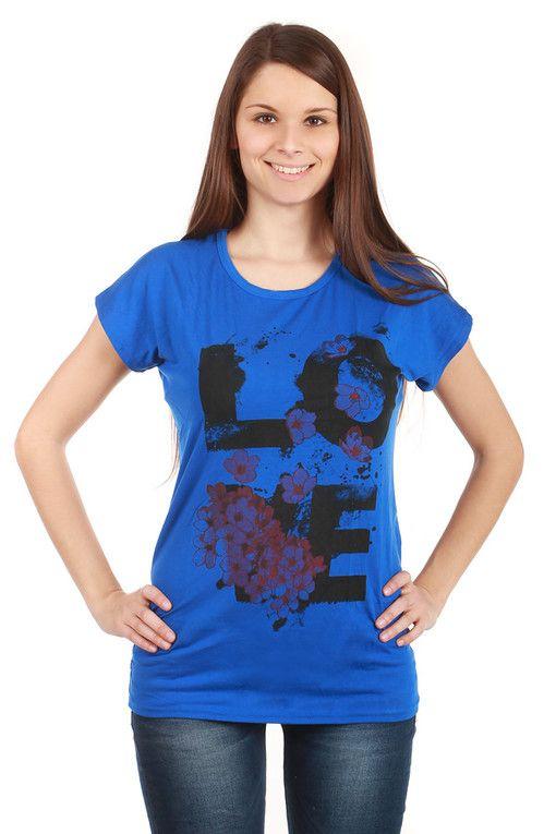 Dámské bavlněné volné tričko s krátkým rukávem a nápisem  eac4ade18a