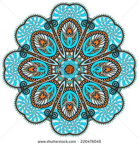 Мандала, круг декоративные духовное индийский символ цветка лотоса, круглый орнамента, векторные иллюстрации - Векторный