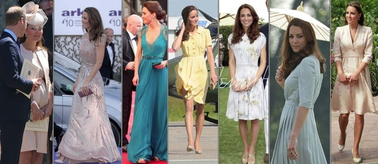 7 Jenny packham Dresses Favorite Brands JENNY PACKHAM:Below you see Kate wearing her designs for three important events: the Queen's 60th Coronation Anniversary church service in 2013, the ARK Dinner in 2011 and a Team GB pre-Olympic gala in 2012. The next four photos are all from varying royal tours.