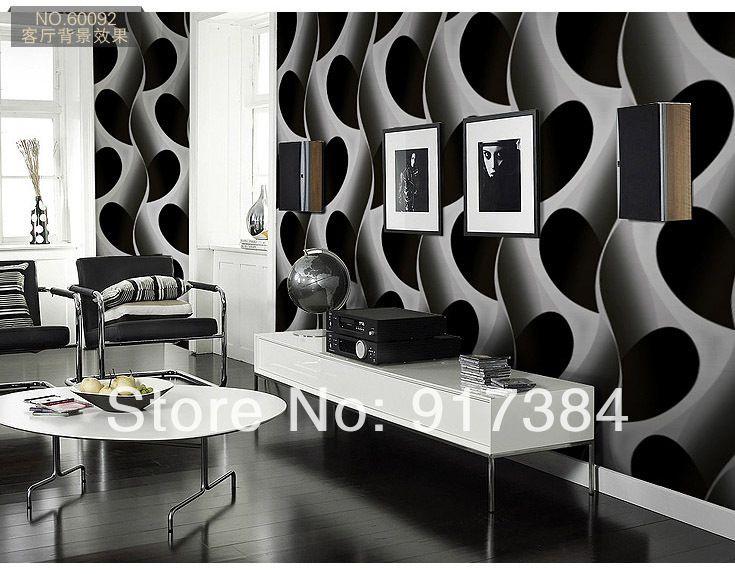 Белый черный линии пвх тиснением текстурированные обои Rolls украшения дома напечатаны L-4524