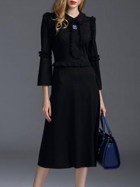 Shop Midi Dresses - Elegant A-line Plain Frill Sleeve Midi Dress online. Discover unique designers fashion at StyleWe.com.