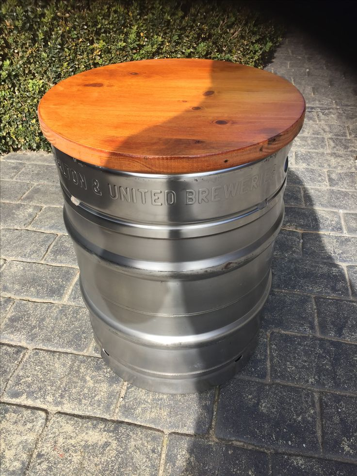 Beer Keg Seat with recycled Pallet timber top.                              …
