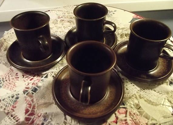 Four Vintage Ruska Arabia Finland Mocca Coffee Cups with