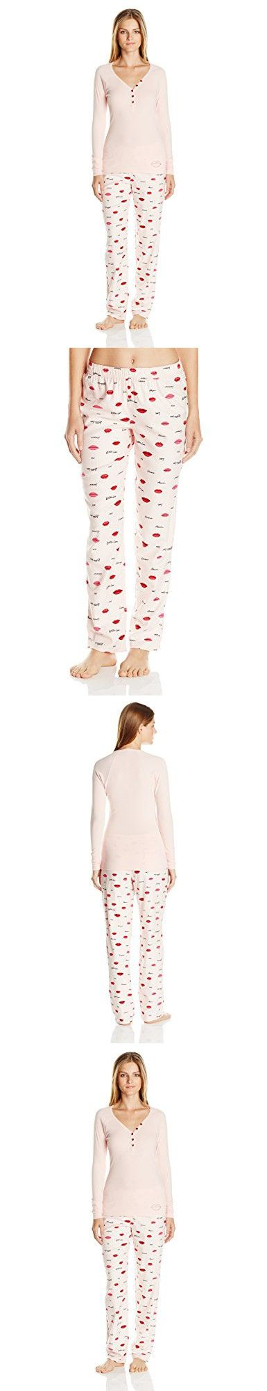 Betsey Johnson Women's Gift Packaged Rib and Flannel Pj, Lotssa Love Lips Rose, Large