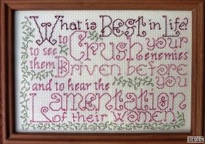 Conan the Barbarian Cross-Stitch Helps You Sort Out Your Priorities