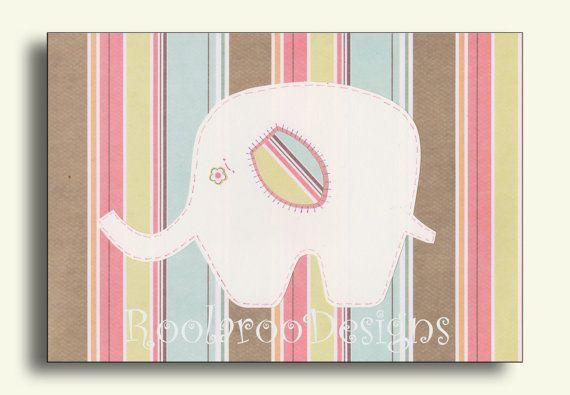 Elephant Nursery Decor Baby Girl Wall Art Print by RoolarooDesigns, $13.50