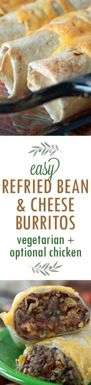 Easy Refried Bean and Cheese Burritos with Optional Chicken - Easy, breezy, freezy. Roll up a few burritos, bake 'em up, and eat them now or freeze individually for super-easy lunches and dinners down the road. And with brown rice and only a small amount of cheese, they're overall a pretty darn healthy choice, too.