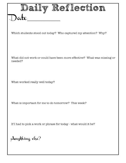 """Reflective Teaching - One way I self-assess and grow! I include a few minutes before transitions (or after, as a calm-down) for students to do this, too. At the end of each day, we take time to reflect on what we learned TODAY. This practice is critical to sound learning and teaching, yet we skip it because we """"don't have time."""" Make time!"""